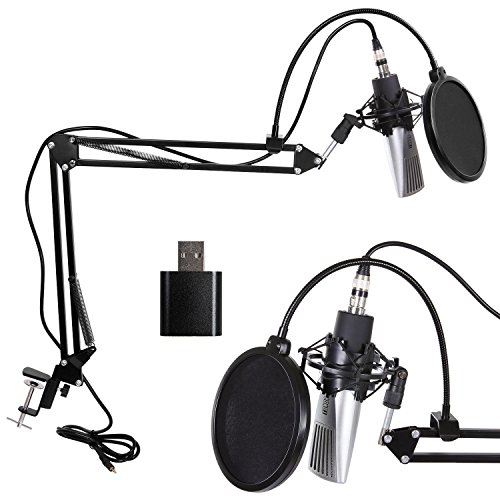 XRL zu 3.5 mm Dynamisch Kondensator-Mikrofon Kit, Schall Podcast Studio Rundfunk & Aufnahme Microphone für Computer mit Popschutz, Soundkarte und Verstellbarem Mikrofonhalter Mikrofonarm Mikrofonständer & Mikrofon Sets