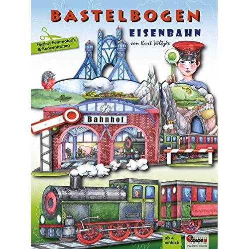 Eisenbahn Bastelbogen: 3d bespielbarer Bahnhof, Brücke, Zug zum Ausschneiden und Basteln