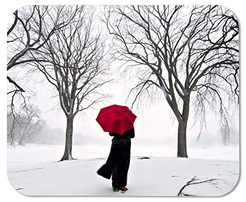 Drempad Gaming Mauspads Custom, Woman with Red Umbrella in Snow Picture Anti-Slip Laptop PC Mice Pad Mat Mousepad for Optical Laser Mouse