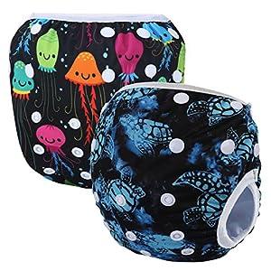 Storeofbaby Pañales de natación reutilizables nappy pañales de baño para niños niñas 0-3 años 2 paquete 4