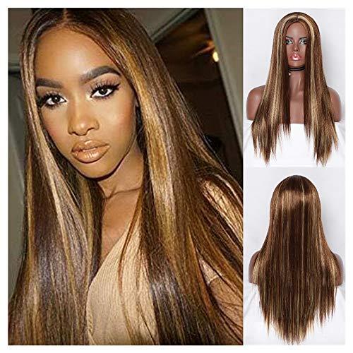 Maxpex Perücke, blond, lang, glatt, Kunsthaar, für schwarze Frauen, Mittelteil, (70 Prominente Kostüm)