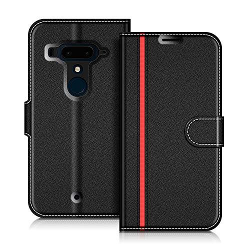 COODIO Handyhülle für HTC U12 Plus Handy Hülle, HTC U12+ Hülle Leder Handytasche für HTC U12 Plus Klapphülle Tasche, Schwarz/Rot