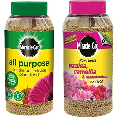 Scotts Miracle-Gro All Purpose Continuous Release Plant Food Shaker Jar, 1 kg & Scotts Miracle-Gro Azalea, Camellia and Rhododendron Continuous Release Plant Food Shaker Jar, 1 kg