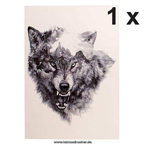 1 x Wolf Tattoo - XL Arm Tattoo in Schwarz - HB845 (1)
