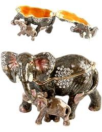 Elephant and Calf Trinket Box - Ornament - Treasured Trinkets