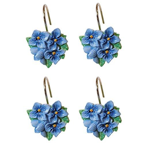 Lenox Duschvorhang-Haken, Blumenmuster, Blau Lenox Set Ring