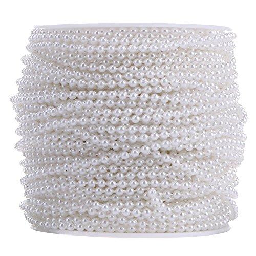 Pearl Perlen Kette, 10Meter 3mm Perle Perlen von der Rolle für Hochzeit Party Dekoration, weiß (Kunststoff-perlenketten)