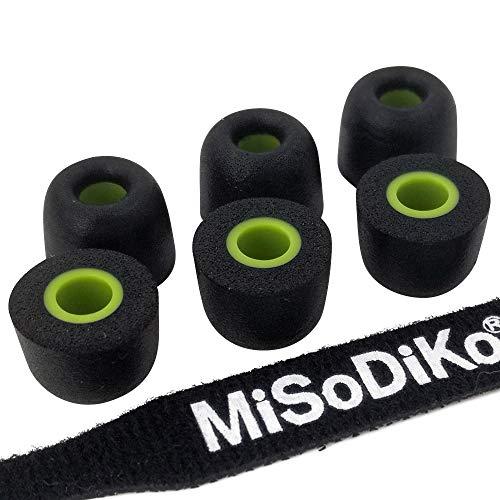 misodiko Cuscinetti per Auricolari/Cuffie In-Ear - Jaybird X4, X3, X2, X1, Run, Freedom-F5 e altro ancora | Memory Foam | Annullamento del rumore | M550, Ø5,5mm | 3 Coppie, M (Media)