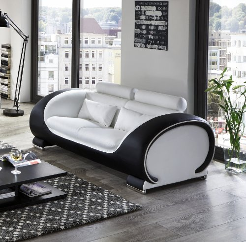 SAM® Design Garnitur Vigo 3 teilig in Weiß / weiß / schwarz futuristisches Design by Ricardo Paolo 3-Sitzer Couch 230 cm 2-Sitzer 152 cm und Sessel 108 cm mit Getränkehalter Kopfstützen verstellbar angenehme Polsterung montiert Auslieferung durch Spedition - 3