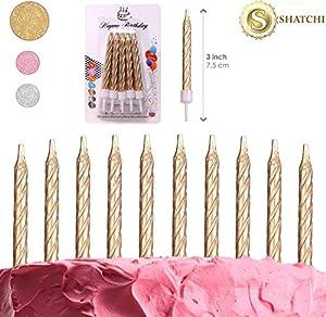SHATCHI-10 Velas en Espiral Doradas Tartas de cumpleaños, Aniversario, Fiesta, decoración (Gifts 4 All Occasions Ltd 11804)