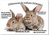 Merchandise for Fans Blechschild/Warnschild/Türschild - Aluminium - 15x20cm - -Willkommen in meinem Zuhause - Motiv: Kaninchen zwei Tiere nebeneinander - 03