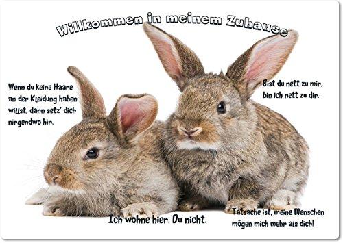 blechschild-warnschild-fun-turschild-20x30cm-willkommen-in-meinem-zuhause-motiv-kaninchen-zwei-tiere