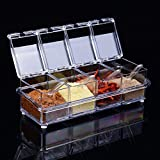 ParaCity Kitchen Gourmet Acrylic Seasoning Box with 4 Serving Spoons, Nice Design for Kitchen (Seasoning Box) (Kitchen & Home)