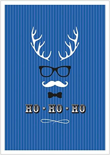(Erhältlich im 1er 4er 8er Set: Ho, Ho, Ho Moderne Coole lustige Hipster Weihnachkarte Klappgrußkarte Gutschein mit Hirschgeweih, Brille, Fliege und Schnurrbart in Blau mit Umschlag (8))