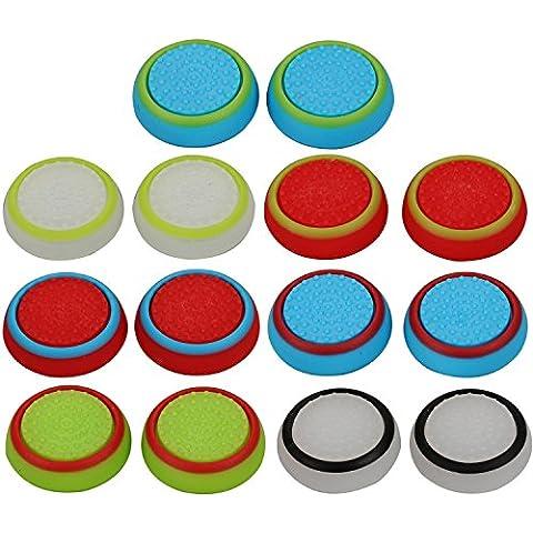eJiasu 7 pares / 14 Piezas universal Silicona Stick Analógico Joystick palillo del pulgar de apretones de tapas para PS4 PS3 PS2 Xbox 360 Controller Uno / Juego (7 pares -multicolor