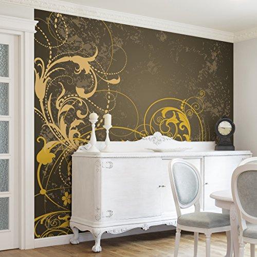 Apalis Vliestapete Schnörkel in Gold Fototapete Quadrat   Vlies Tapete Wandtapete Wandbild Foto 3D Fototapete für Schlafzimmer Wohnzimmer Küche   Größe: 192x192 cm, mehrfarbig, 97984