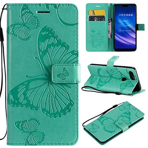 Xiaomi Mi 8 Lite Hülle,Gift_Source [Grün] Schlanke PU Leder Brieftasche Handyhülle Schale Klapphülle Schutzhülle Tasche Magnet Etui mit Kartenhalter und Ständer für Xiaomi Mi 8 Lite/Mi 8 Youth (6.26