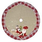 Happon Weihnachtsbaumdecke Christbaumdecke Baumdecke Design mit Weihnachtsmann Muster Weihnachten Deko Geschenke Weihnachtsdekoration 48 Zoll / 120CM Durchmesser