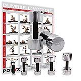 POWRX Kurzhanteln 2er Set | Hantelset Chrom mit Schaumstoffgriff | 5 Gewichtsvarianten 1kg 3kg 5kg 7kg 10kg | Kurzhantel-Set für Fitness-Übungen (2 x 10 kg)