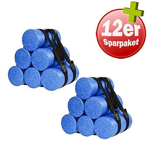 OLIVER 30 cm Faszienrolle 12er Set, blau mit 2 Tragegurten