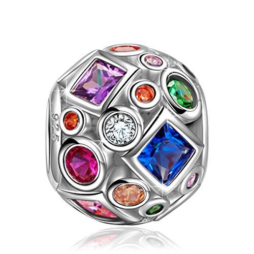 NINAQUEEN Pandora Charms angepasste Charm Geschenke für Frauen Bunter Edelstein Silber 925 Zirkonia Emaille Schmuck Damen mit Schmuckkästchen Damen Geschenke für Mama✿