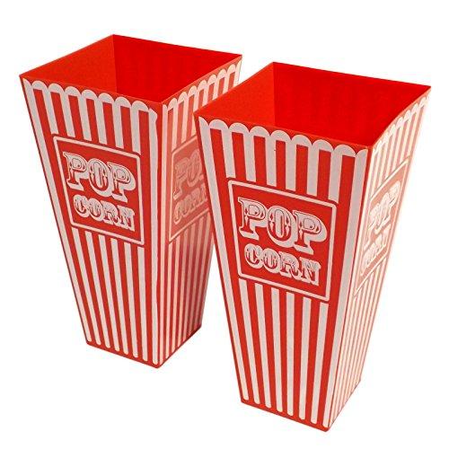 2x gestreifte Retro-Amerika-Kunststoff-Popcorn-Halter - ca. 20cm (Höhe) - ideal für Filmabende, Kinobesuche und Partys