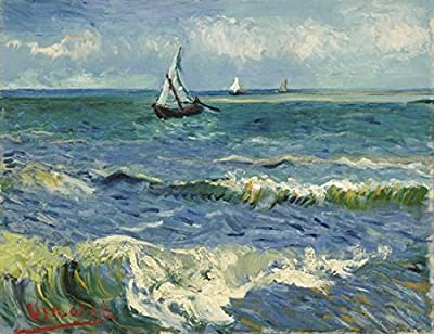 Wieco Art - Seascape at Saintes Maries by Vincent Van Gogh Oil Paintings Reproduction Classical Giclee Canvas Prints Artwork Ocean Pictures Paintings on Canvas Wall Art for Bedroom Home Decorations - low-cost UK light shop.