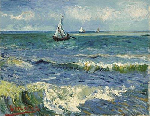 Paisaje decorativo marino de Saintes Maries; reproducción de una pintura al oleo del pintor Vincent Van Gogh de Wieco Art, impresión en lienzo, impresión giclée (proceso desde una fuente digital), arte mural, decoración para salón, ideal para el hogar o la oficina , azul, 16x12inch (40x30cm)