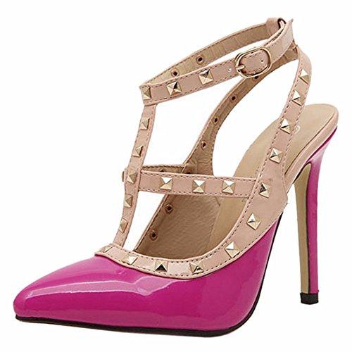 QIYUN.Z Femmes Rivet Stiletto Sexy Chaussures a Talons De Pompe Creux Bout Pointu Boucle De Ceinture Rose Rouge