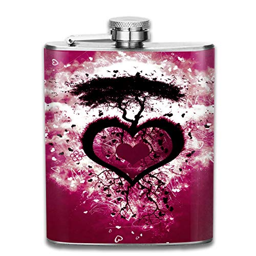 Red Love Heart Tree Island Fashion Portable 304 Stainless Steel Leak-Proof Alcohol Whiskey Liquor Wine 7OZ Pot Hip Flask Travel Camping Flagon for Man Woman Flask Great Little Gift