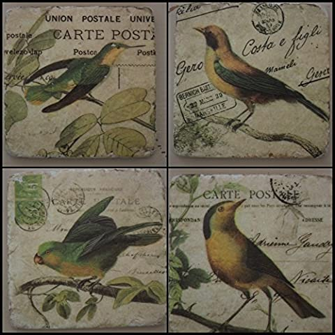 London Ornaments ~ Oiseau Set de 4 dessous de