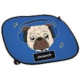 Auto-Sonnenschutz mit Namen Janosch und Mops-Motiv mit blauem Kopfhörer für Jungen | Auto-Blendschutz | Sonnenblende | Sichtschutz