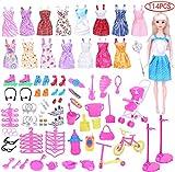 Liuer 114PCS Accessori per Barbie Bambole 16PCS Mini Carina Gonna e 98 Pz Scarpe Gancio Specchio Appendiabiti Biciclette Passeggino per della Ragazza Compleanno Regalo Natale(Stile Casuale)