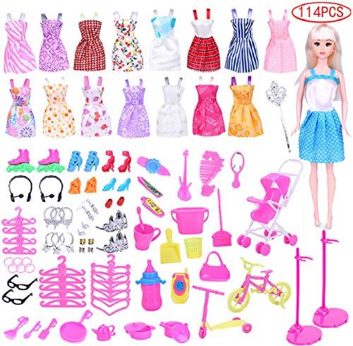 liuer 114PCS Kleidung zubehör Set Für Barbie Puppen 16PCS Fashion Modische Partymoden Kleidung Kleider Mit 98Pcs Accessoires Kinder Geschenk für 30CM Doll Xmas Weihnachten - Doll Kostüm Für Jugendliche