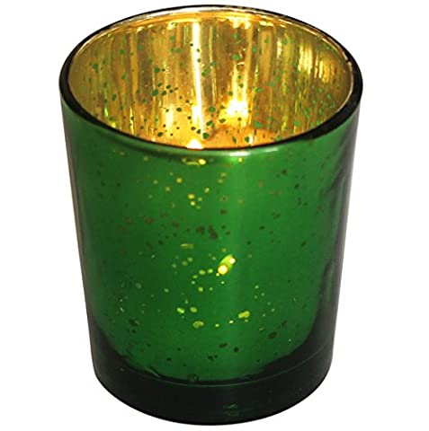 Set of 2 Tealight Holders for Living Room Decorations - SouvNear Dotted Glass Tea light Holder in Green & Gold Tone - Handmade Decorative Table Votive Candle Holder – Home