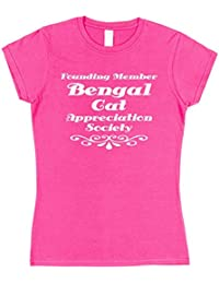 Click My Clobber Womens, T-Shirt, Founding Member Bengal Cat Appreciation Society Great Christmas Gift Idea for Pet Lover,