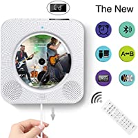 Portable CD player, built-in HIFI speaker with wall-mounted bluetooth, USB MP3 music player with home audio FM radio, AUX input/output with 3.5mm headphone jack, cable switch/remote control (White)