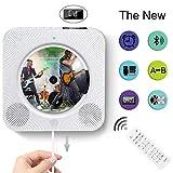 CD-Spieler An der Wand montierbare Bluetooth-Lautsprecher FM-Radio MP3 USB-Musikwiedergabe mit Ruhemodus-LED Display-Fernbedienung 3, 5 mm Kopfhöreranschluss (weiß)