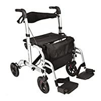 Elite Care Hybrid 2 in 1 Rollator walker walking frame / folding transfer wheelchair