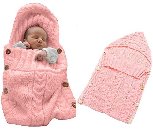 Neugeborenes Baby Gestrickt Wickeln Swaddle Decke Schlafsack für 0-12 Monat Baby (pink)