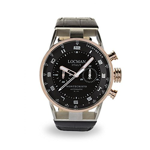 Watch Locman Montecristo 0514 V13-rnbkwpsnrub Automatic Titanium quandrante Black Leather Strap