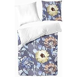 Hahn Haustextilien Mako-Satin Bettwäsche Blumen blau 135x200 cm