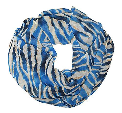 MANUMAR Loop-Schal für Damen | Hals-Tuch in Blau Beige mit Animal Print Motiv als perfektes Sommer-Accessoire | Schlauchschal | Damen-Schal | Rundschal | Geschenkidee für Frauen und Mädchen
