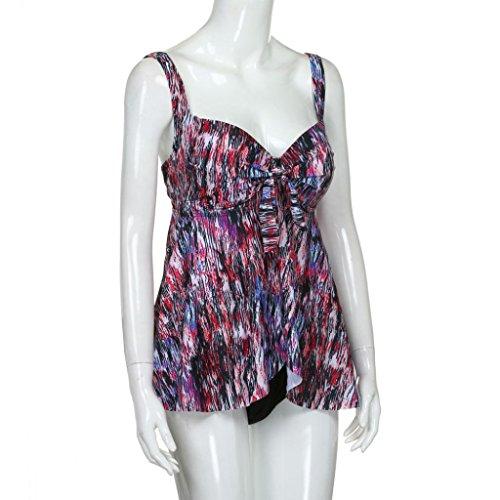 LuckyGirls ❤️• •❤️ Donne sexy Tankini taglia grossa reggiseno imbottito spiaggia costume da bagno beachwear affascinante moda vita bassa Bikini(XL~4XL) Multicolore