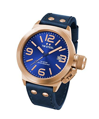 Reloj Cuarzo TW Steel Para Unisex Con  Azul Analogico Y Azul Cuero CS61