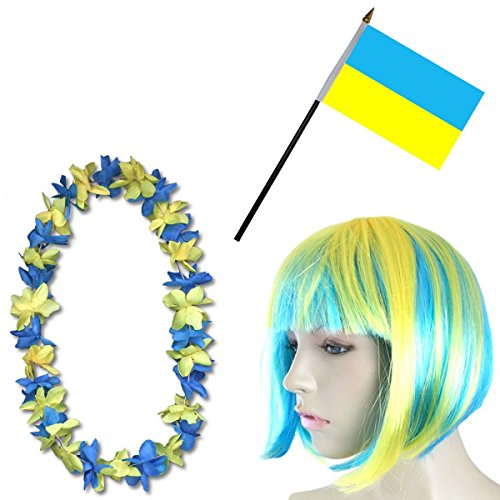 -Paket-4 WM Fußball Kurzhaar Perücke Hawaiikette Flagge Party Farbe Ukraine (Kostüme Ukraine)