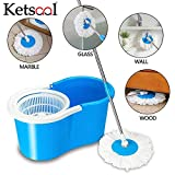 Ketsaal Spin Bucket Mop with 2 Refills- Super Absorbent Refills for All Type