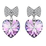 SIVERY 'Liebesherz' Ohrringe mit Swarovski Elemente, Ohrringe Damen, Schmuck Damen, Geschenke für Frauen (Lila)