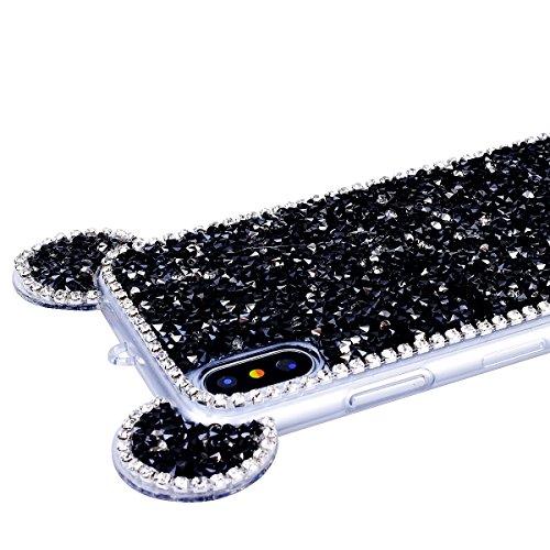 GrandEver iPhone X Hülle Glitzer Weiche Silikon Handyhülle Diamant Maus Ohren Gel Bling TPU Bumper Schutzhülle für iPhone X Rückschale Klar Handytasche Anti-Kratzer Stoßdämpfung Ultra Slim Rückseite S Schwarz