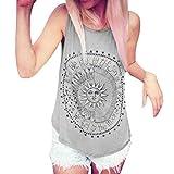 JUTOO Frauen Sonne Gedruckt Bluse Sleeveless Weste T-Shirt Bluse Casual Tank Tops (XXX-Large, Grau)